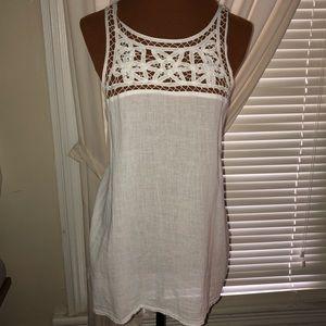 Old Navy White Cotton Crochet Accent Top, Sz XL